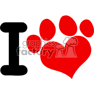 10701 Royalty Free RF Clipart I Love Animals With Red Heart Paw Print Logo Design Vector Illustration