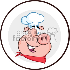 10730 Royalty Free RF Clipart Winking Chef Pig Cartoon Mascot Character Circle Banner Vector Illustration clipart. Commercial use image # 403491