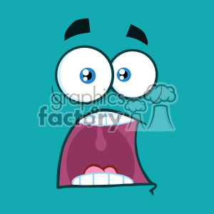 10872 Royalty Free RF Clipart Scared Cartoon Funny Face With Panic Expression Vector With Blue Background clipart. Commercial use image # 403501