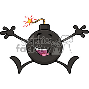 10795 Royalty Free RF Clipart Happy Bomb Cartoon Mascot Character Jumping With Open Arms Vector Illustration