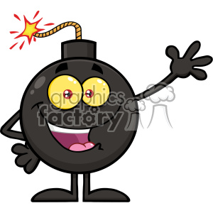 10778 Royalty Free RF Clipart Happy Funny Bomb Cartoon Mascot Character Waving For Greeting Vector Illustration
