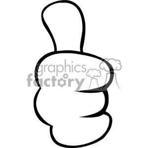10685 Royalty Free RF Clipart Black And White Cartoon Hand Giving Thumbs Up Gesture Vector Illustration