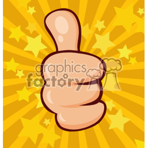 10694 Royalty Free RF Clipart Cartoon Hand Giving Thumbs Up Gesture Vector With Stars Sunburst Background