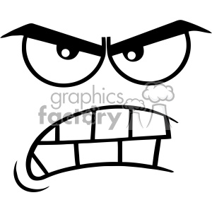10918 Royalty Free RF Clipart ABlack And White ggressive Cartoon Funny Face With Angry Expression Vector Illustration clipart. Commercial use image # 403541