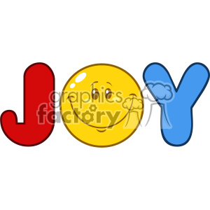 10841 Royalty Free RF Clipart Joy Logo With Smiley Face Cartoon Character Vector Illustration clipart. Commercial use image # 403551