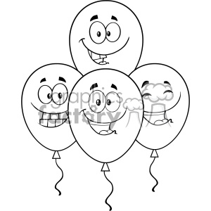 10773 Royalty Free RF Clipart Black And White Four Balloons Cartoon Mascot Character With Expressions Vector Illustration clipart. Commercial use image # 403566