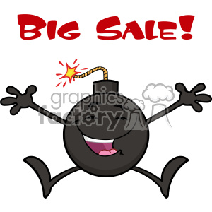 10796 Royalty Free RF Clipart Black And White Happy Bomb Cartoon Mascot Character Jumping With Open Arms Vector Illustration clipart. Royalty-free image # 403581