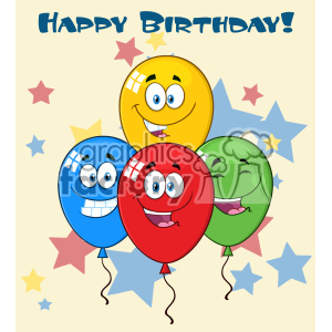10776 Royalty Free RF Clipart Happy Four Colorful Balloons Cartoon Mascot Character With Expressions Vector With Stars Background And Text Happy Birthday clipart. Commercial use image # 403586