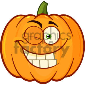 Smiling Orange Pumpkin Vegetables Cartoon Emoji Face Character With Winking Expression clipart. Royalty-free image # 403960
