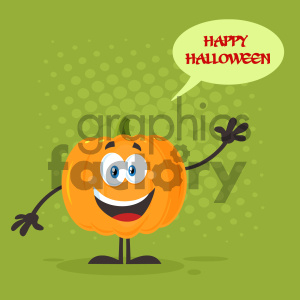 Happy Orange Pumpkin Vegetables Cartoon Emoji Character Waving For Greeting Vector Illustration Flat Design Style With Background Speech Bubble And Text Happy Halloween clipart. Royalty-free image # 403967