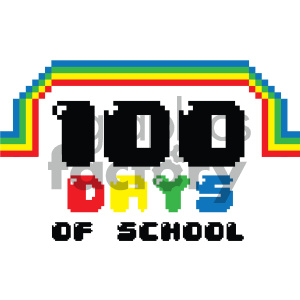 100 days of school rainbow vector art