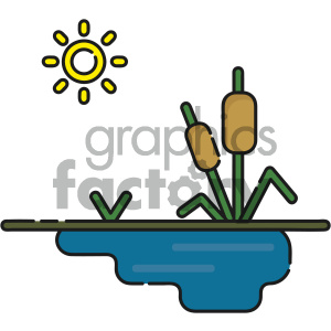 pond with cattails vector clipart. Royalty-free image # 404129