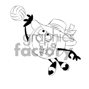 black and white cartoon beach ball character playing volleyball clipart. Commercial use image # 404193
