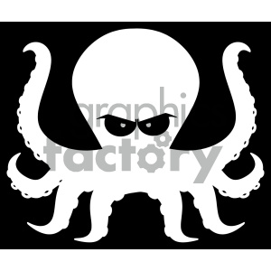 cartoon animals vector octopus silhouette black+white outline