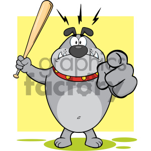 Royalty Free RF Clipart Illustration Angry Gray Bulldog Cartoon Mascot Character Holding A Bat And Pointing Vector Illustration With Background Isolated On White clipart. Commercial use image # 404217