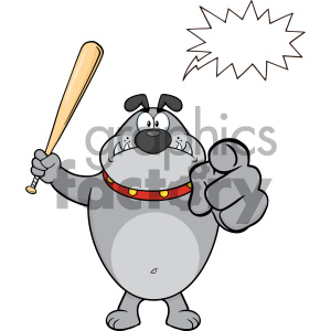 Royalty Free RF Clipart Illustration Angry Gray Bulldog Cartoon Mascot Character Holding A Bat And Pointing Vector Illustration Isolated On White Background With Speech Bubble clipart. Commercial use image # 404220