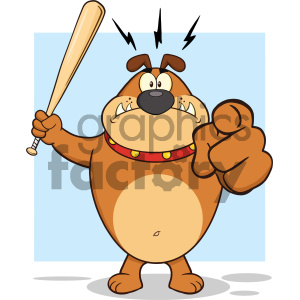 Royalty Free RF Clipart Illustration Angry Brown Bulldog Cartoon Mascot Character Holding A Bat And Pointing Vector Illustration With Background Isolated On White clipart. Commercial use image # 404223