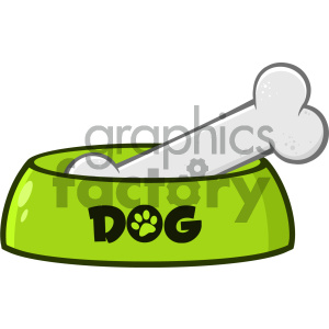 Royalty Free RF Clipart Illustration Green Dog Bowl With Animal Food And Bone Drawing Simple Design Vector Illustration Isolated On White Background clipart. Commercial use image # 404228