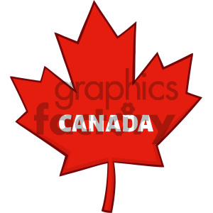 Royalty Free RF Clipart Illustration Canadian Red Maple Leaf Line Cartoon Drawing Vector Illustration Isolated On White Background With Text Canada clipart. Commercial use image # 404267