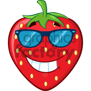 Royalty Free RF Clipart Illustration Smiling Strawberry Fruit Cartoon Mascot Character With Sunglasses Vector Illustration Isolated On White Background clipart. Commercial use image # 404280