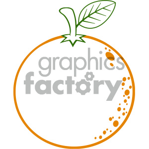 Royalty Free RF Clipart Illustration Orange Fresh Fruit With Green Leaf Cartoon Lines Drawing Vector Illustration Isolated On White Background clipart. Royalty-free image # 404323