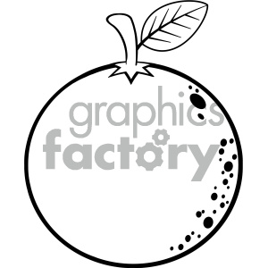 Royalty Free RF Clipart Illustration Black And White Orange Fresh Fruit Cartoon Lines Drawing Vector Illustration Isolated On White Background clipart. Commercial use image # 404351