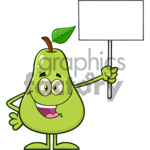 Royalty Free RF Clipart Illustration Green Pear Fruit With Leaf Cartoon Mascot Character Holding A Blank Sign Vector Illustration Isolated On White Background clipart. Royalty-free image # 404355