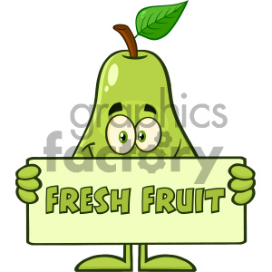 Smiling Pear Fruit With Green Leaf Cartoon Mascot Character Holding A Banner With Text Fresh Fruit clipart. Royalty-free image # 404358