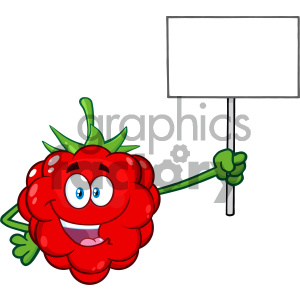 Royalty Free RF Clipart Illustration Red Raspberry Fruit Cartoon Mascot Character Holding A Blank Sign Vector Illustration Isolated On White Background
