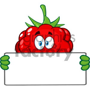 Royalty Free RF Clipart Illustration Smiling Raspberry Fruit Cartoon Mascot Character Holding A Blank Sing Vector Illustration Isolated On White Background clipart. Royalty-free image # 404405