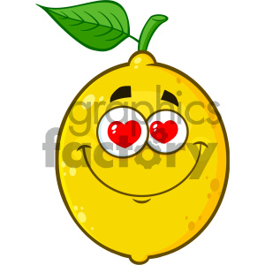 Royalty Free RF Clipart Illustration Loving Yellow Lemon Fruit Cartoon Emoji Face Character With Hearts Eyes Vector Illustration Isolated On White Background