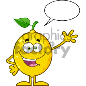 Royalty Free RF Clipart Illustration Happy Yellow Lemon Fresh Fruit With Green Leaf Cartoon Mascot Character Waving For Greeting With Speech Bubble Vector Illustration Isolated On White Background