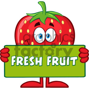 Royalty Free RF Clipart Illustration Smiling Strawberry Fruit Cartoon Mascot Character Holding A Banner With Text Fresh Fruit Vector Illustration Isolated On White Background clipart. Royalty-free image # 404445