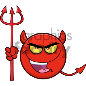 Royalty Free RF Clipart Illustration Red Devil Cartoon Smiley Face Character With Evil Expressions Holding A Trident Vector Illustration Isolated On White Background