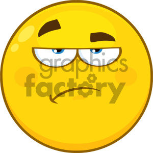 Royalty Free RF Clipart Illustration Grumpy Yellow Cartoon Smiley Face Character With Sadness Expression Vector Icon Isolated On White Background clipart. Royalty-free image # 404498