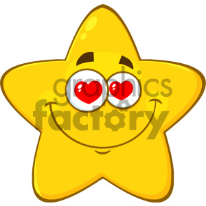 Royalty Free RF Clipart Illustration Loving Yellow Star Cartoon Emoji Face Character With Hearts Eyes Vector Illustration Isolated On White Background clipart. Royalty-free image # 404538