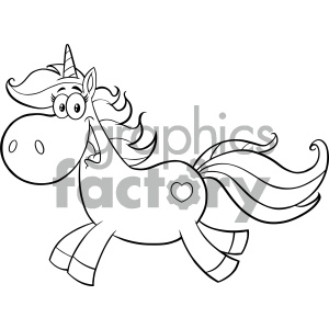 Clipart Illustration Black And White Cute Magic Unicorn Cartoon Mascot Character Running Vector Illustration Isolated On White Background