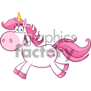 Clipart Illustration Cute Magic Unicorn Cartoon Mascot Character Running Vector Illustration Isolated On White Background