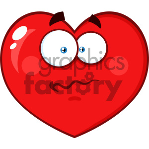 Worried Red Heart Cartoon Emoji Face Character With Confused Expression Vector Illustration Isolated On White Background clipart. Royalty-free image # 404602
