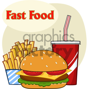 Fast Food Hamburger Drink And French Fries Cartoon Drawing Simple Design Vector Illustration Isolated On White Background With Text Fast Food clipart. Commercial use image # 404634