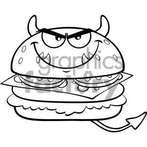 Angry Devil Burger Cartoon Mascot Character Vector Illustration Isolated On White Background clipart. Commercial use image # 404638
