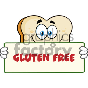 Bread Slice Cartoon Mascot Character Holding A Sign Vector Illustration With Text Gluten Free Isolated On White Background clipart. Royalty-free image # 404642