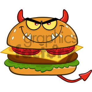 cartoon food mascot character vector burger fast+food cheeseburger evil devil
