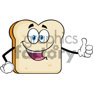 Happy Bread Slice Cartoon Mascot Character Giving A Thumb Up Vector Illustration Isolated On White Background clipart. Royalty-free image # 404662