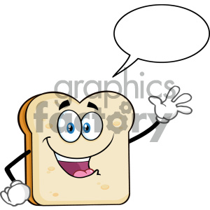 cartoon food mascot character vector bread slice chat
