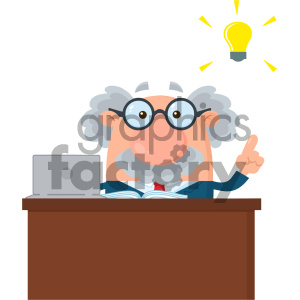Professor Or Scientist Cartoon Character Behind Desk With A Big Idea Vector Illustration Flat Design Isolated On White Background clipart. Royalty-free image # 404682
