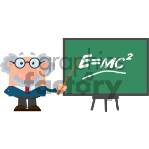 Professor Or Scientist Cartoon Character With Pointer Presenting Einstein Formula Vector Illustration Flat Design Isolated On White Background clipart. Royalty-free image # 404684