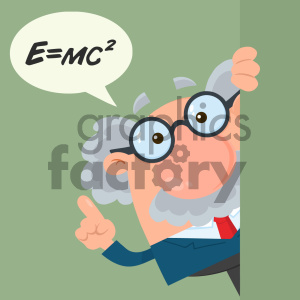 Professor Or Scientist Cartoon Character Looking Around Corner With Speech Bubble And Einstein Formula Vector Illustration Flat Design With Background clipart. Royalty-free image # 404694