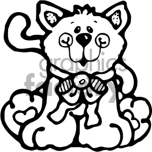 cartoon clipart cat 001 bw clipart. Commercial use image # 404740