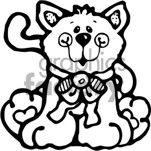 cartoon animals vector PR cat pet black+white